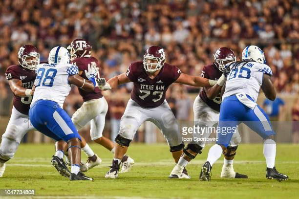 Texas AM Aggies offensive lineman Jared Hocker looks to block during the game between the Kentucky Wildcats and Texas AM Aggies on October 6 2018 at...