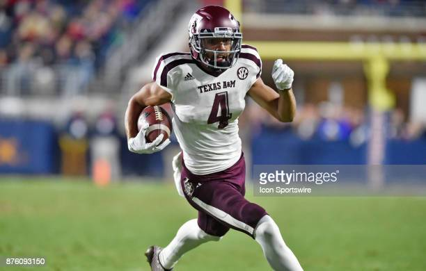 Texas AM Aggies receiver Damion Ratley runs upfield during the first quarter of a NCAA college football game against the Mississippi Rebels on...