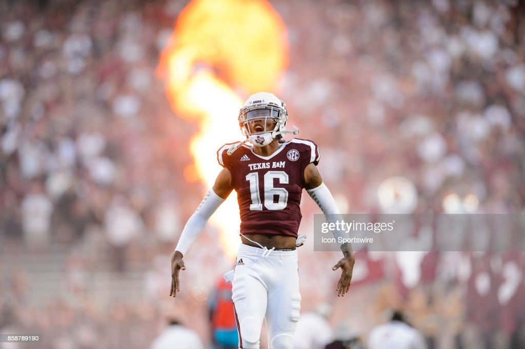 Texas A&M Aggies wide receiver Clyde Chriss (16) runs onto the field before the college football game between the South Carolina Gamecocks and the Texas A&M Aggies on September 30th, 2017 at Kyle Field in College Station, TX.