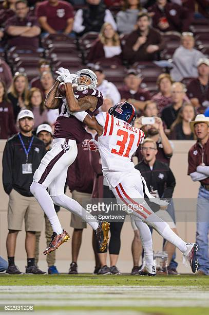 Texas AM Aggies wide receiver Josh Reynolds brings in a touchdown catch in front of Mississippi Rebels defensive back Jaylon Jones during the Ole...