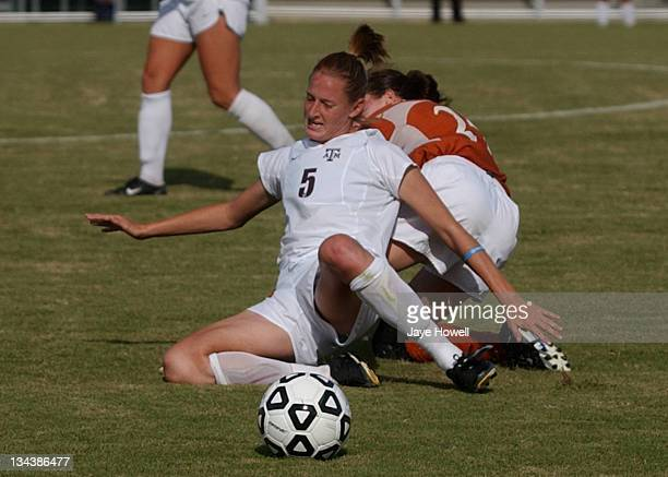 Texas A&M defender Shannon Labhart slides for the ball during the University of Texas vs. Texas A&M University soccer game in the Big 12 Womens...