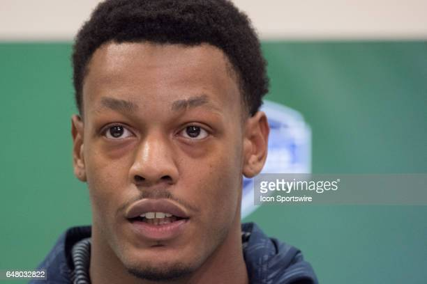 Texas AM defensive end Daeshon Hall answers questions from members of the media during the NFL Scouting Combine on March 4 2017 at Lucas Oil Stadium...