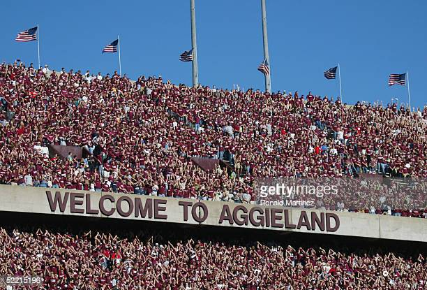 Texas AM University Aggies fans sometimes referred to as the 12th Man watch the game against the University of Oklahoma Sooners on November 6 2004 at...