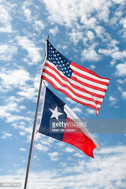 usa, texas, american and texas flags against cloudy sky - texas independence day stock pictures, royalty-free photos & images