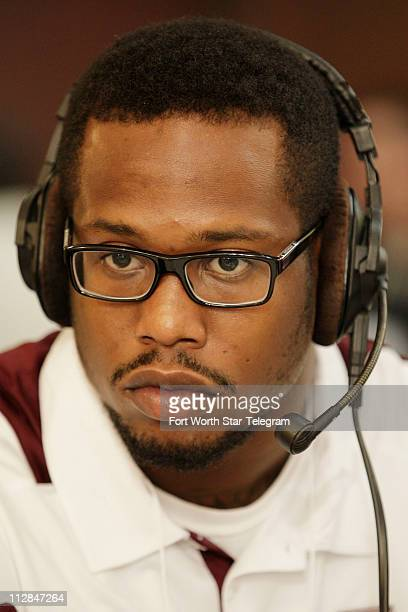 Texas A&M's Von Miller gives a radio interview at the Big 12 conference Media Day in Irving, Texas, Monday, July 26, 2010.