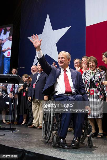 Texas Attorney General Greg Abbott celebrates his election as governor of Texas with a resounding victory over Democratic challenger Wendy Davis...