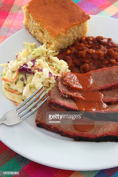 Texas barbecue brisket with beans and coleslaw