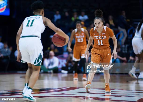 Texas Brooke McCarty playing defense on Baylor Alexis Morris during the Big 12 Women's Championship on March 05 2018 at Chesapeake Energy Arena in...