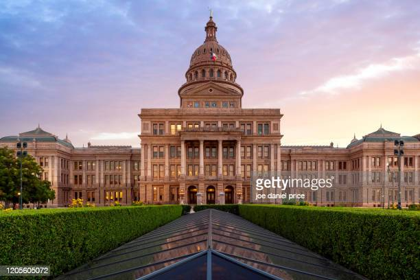 texas capitol, dramatic sunset, austin, texas, america - state capitol building stock pictures, royalty-free photos & images