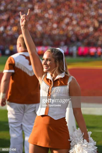 Texas cheerleader looks on before a college football game between the Texas Longhorns and the USC Trojans on September 16 at Los Angeles Memorial...
