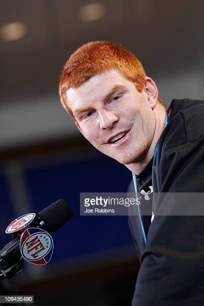 Texas Christian Horned Frogs quarterback Andrew Dalton answers questions during a media session at the 2011 NFL Scouting Combine at Lucas Oil Stadium...