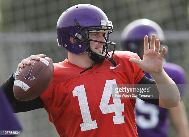 Texas Christian Horned Frogs quarterback Andy Dalton warms up during practice on Sunday December 26 at The Home Depot Center in Carson California TCU...