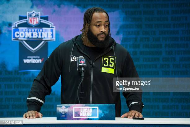 Texas Christian offensive lineman Lucas Niang answers questions from the media during the NFL Scouting Combine on February 26 2020 at the Indiana...