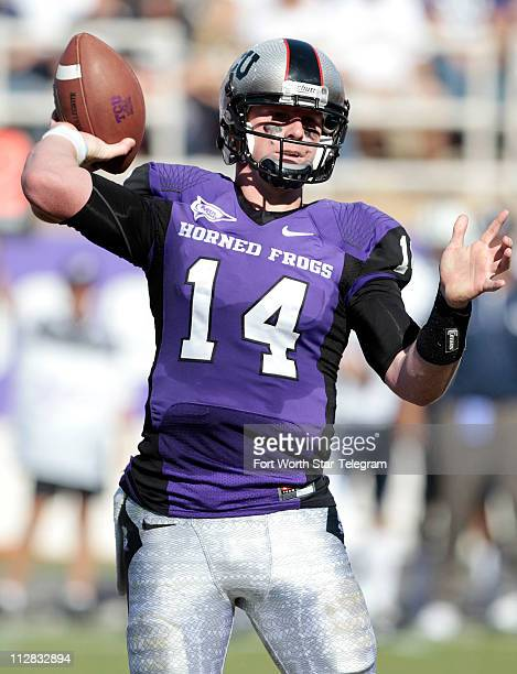Texas Christian quarterback Andy Dalton looks for a open receiver against Brigham Young at Amon G Carter Stadium in Fort Worth Texas on Saturday...
