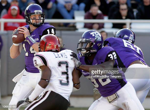 Texas Christian quarterback Andy Dalton looks to pass against San Diego State in the first quarter at Amon Carter Stadium in Fort Worth Texas...