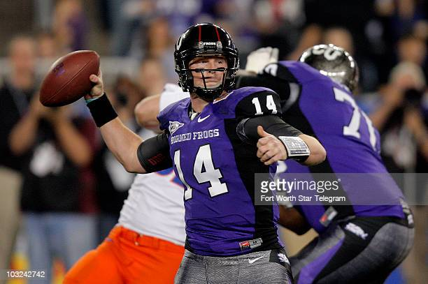 Texas Christian quarterback Andy Dalton passes in the first quarter as the Horned Frogs play Boise State in the Tostitos Fiesta Bowl in Glendale...