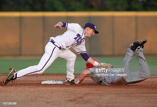 Texas Christian University's Brett Johnson left tags out UNLV's Brandon Bayardi on a stolen base attempt in the fourth inning at Lupton Stadium in...