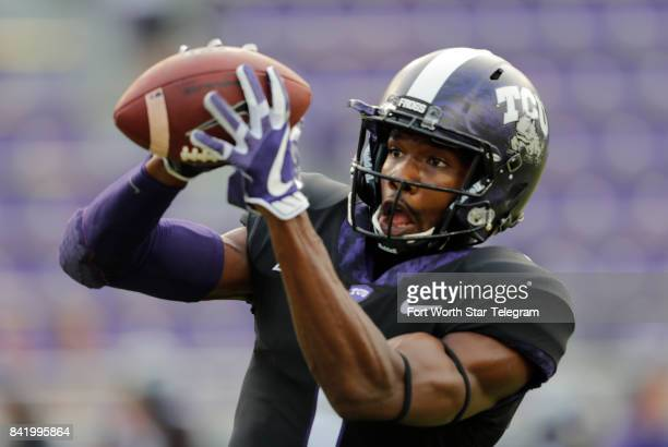 Texas Christian wide receiver Desmon White warms up before a game against Jackson State at Amon G Carter Stadium in Fort Worth Texas on Saturday Sept...