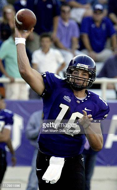 Texas Christian's Jeff Ballard throws a first quarter pass during TCU's game against Brigham Young University at Amon Carter Stadium in Fort Worth...