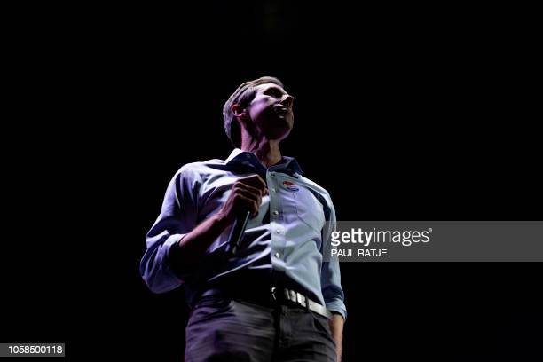 Texas Congressman Beto ORourke gives his concession speech during his election night party at Southwest University Park in downtown El Paso on...