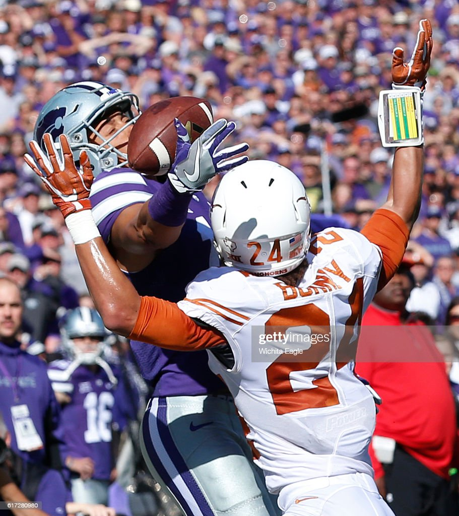 Texas cornerback John Bonney (24) interferes with Kansas State wide receiver Isaiah Harris as he attempts to catch a Jesse Ertz pass deep in the end zone at Snyder Family Stadium in Manhattan, Kan., on Saturday, Oct. 22, 2016. Kansas State won, 24-21.