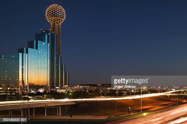 USA, Texas, Dallas, Reunion tower, dusk (long exposure)