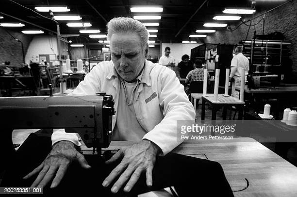 Texas Death Row inmate Carl Buntion works in the sewing factory on April 12, 1997 at Ellis Unit in Huntsville, Texas USA. He is a model prisoner and...