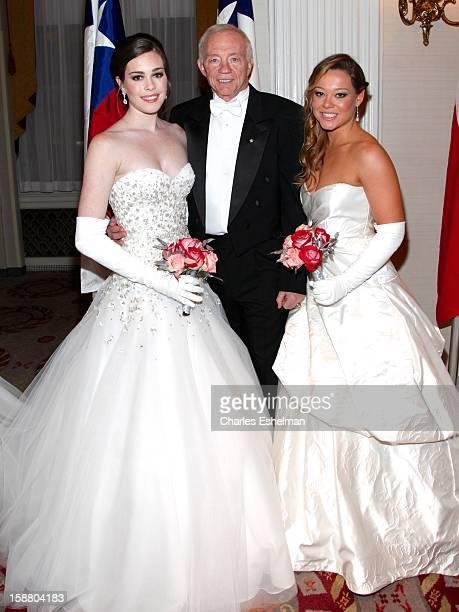 Texas debutante Jessica Catherine Jones, Dallas Cowboys owner Jerry Jones and Texas debutante Haley Alexis Anderson attend the 58th International...