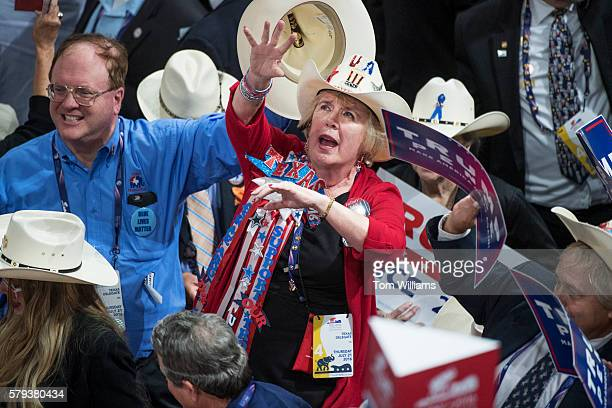 Texas delegates dance before Donald Trump Republican nominee for president spoke in the Quicken Loans Arena on the final night of the Republican...