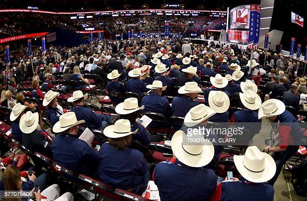 TOPSHOT Texas Delegates on the first day of the Republican National Convention on July 18 2016 at the Quicken Loans Arena in Cleveland Ohio / AFP /...
