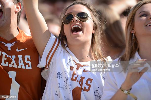 Texas fan cheers during an NCAA football game between the West Virginia Mountaineers and the Texas Longhorns on November 12, 2016 at Darrell K. Royal...