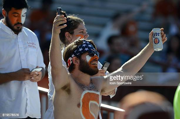 Texas fan cheers during NCAA game between Baylor and Texas on October 29 2016 at Darrell K Royal Texas Memorial Stadium in Austin TX Texas defeated...