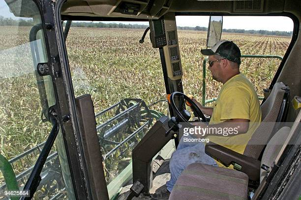 Texas Farmer Cody West Drives A Combine As He Cuts His Crop Of Dried Out Milo