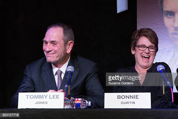 Texas Film Awards Honorees Tommy Lee Jones and Bonnie Curtis at the Press Conference held at Gibson's Show Room on March 12 2015 in Austin Texas
