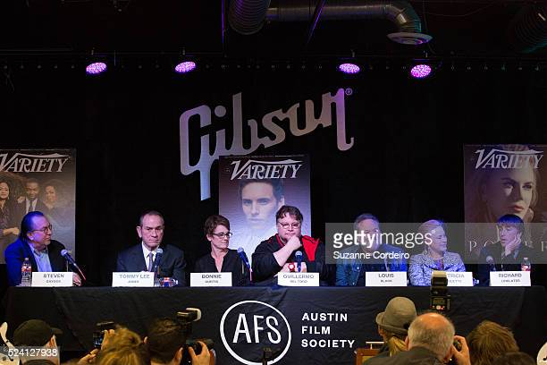 Texas Film Awards Honorees Tommy Lee Jones Patricia Arquette Richard Linklater Louis Black and Bonnie Curtis and moderated by Steven Gaydos at the...