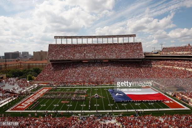 Texas flag on the field before a game between the UTEP Miners and the Texas Longhorns at Darrell K RoyalTexas Memorial Stadium on September 26 2009...