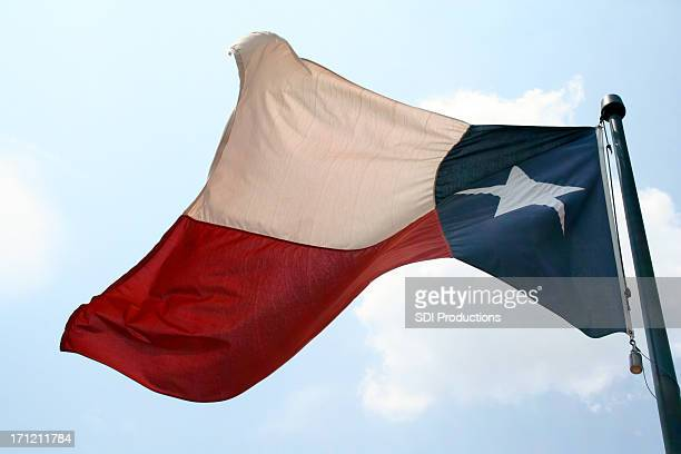 Texas Flag Waving In The Wind Of Bright Blue Sky