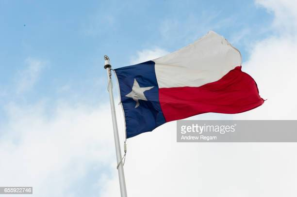 Texas Flag with blue sky, blowing in the wind