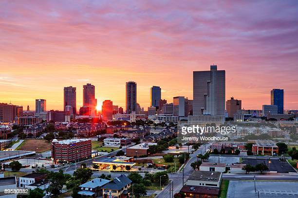 Texas, Fort Worth skyline at sunrise