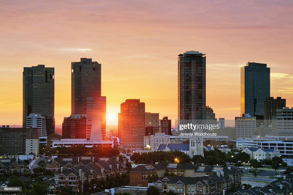 Texas, Fort Worth skyline at sunrise : Stock Photo
