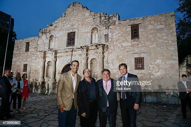 Texas General Land Commissioner George P Bush Phil Collins Executive Producer Leslie Greif and Bill Paxton attend the Texas Honors event to celebrate...