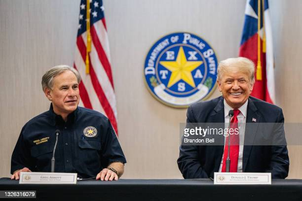 Texas Gov. Greg Abbott addresses former President Donald Trump during a border security briefing to discuss further plans in securing the southern...