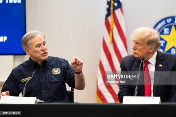 Texas Gov. Greg Abbott addresses former President Donald Trump during a border security briefing on June 30, 2021 in Weslaco, Texas. Gov. Abbott has...
