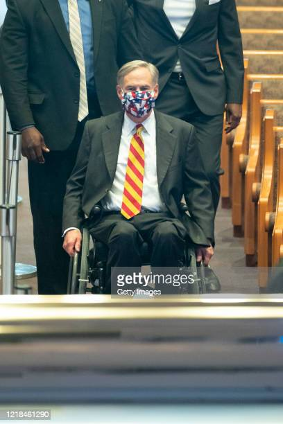 Texas Gov Greg Abbott arrives to view the remains of George Floyd during a public visitation at the Fountain of Praise church June 8 2020 in Houston...