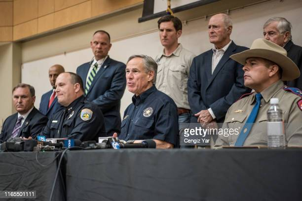 Texas Gov Greg Abbott holds a press conference with local and federal law enforcement at the University of Texas of the Permian Basin following a...
