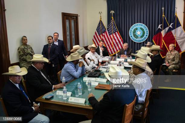 Texas Gov. Greg Abbott listens during a border security briefing with sheriffs from border communities at the Texas State Capitol on July 10 in...