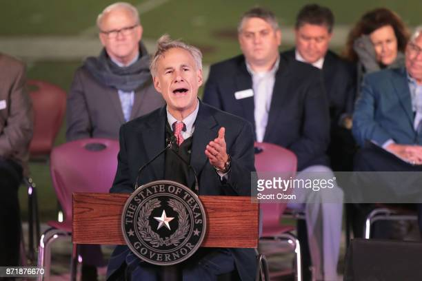 Texas Gov Greg Abbott speaks at a memorial service for the victims of the shooting at the First Baptist Church of Southerland Springs at the...