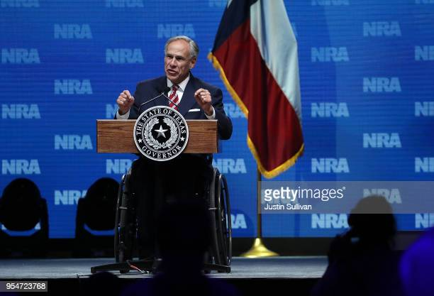 Texas Gov Greg Abbott speaks at the NRAILA Leadership Forum during the NRA Annual Meeting Exhibits at the Kay Bailey Hutchison Convention Center on...