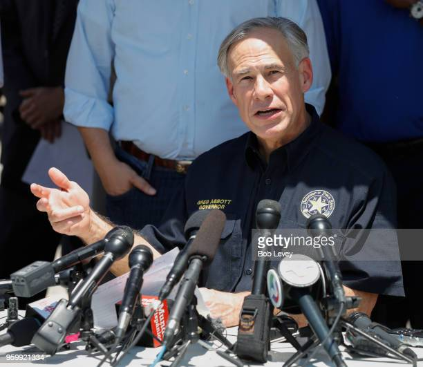 Texas Gov Greg Abbott speaks during a press conference about the shooting incident at Santa Fe High School May 18 2018 in Santa Fe Texas At least 10...