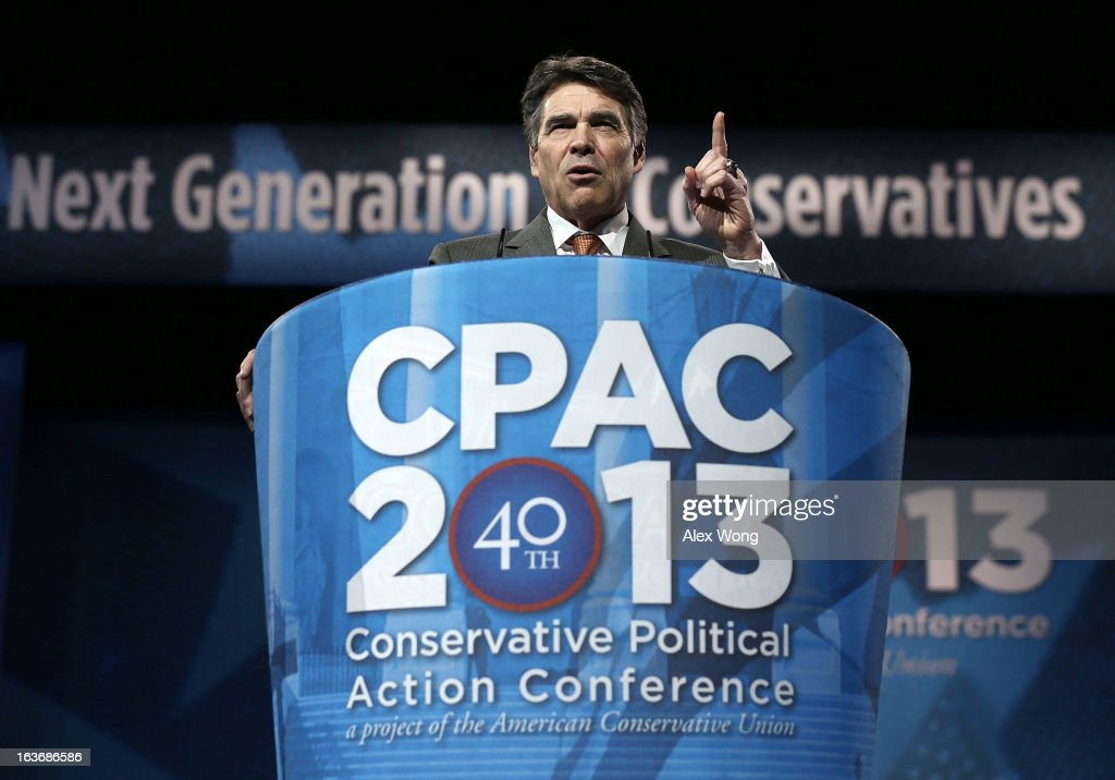 Texas Gov. Rick Perry addresses the 40th annual Conservative Political Action Conference (CPAC) March 14, 2013 in National Harbor, Maryland. A slate of important conserative leaders are slated to speak during the the American Conservative Union's annual conference.